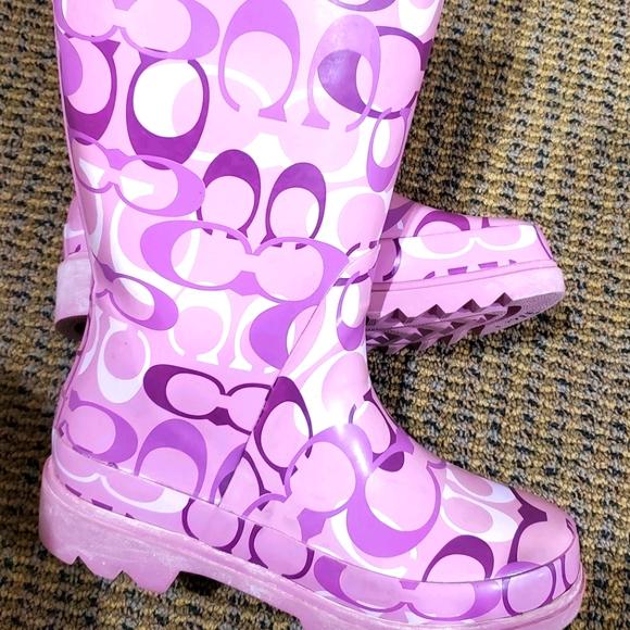 COACH logo pink rain boots